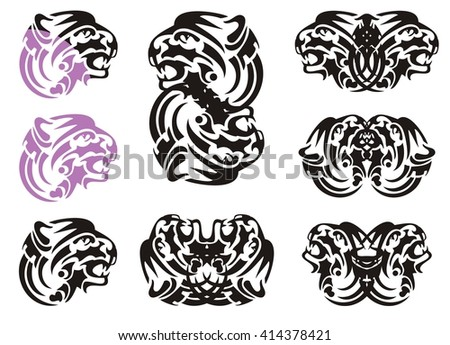 Tribal tiger head symbols. Flaming growling tiger head in violet and black color and double symbols of the tiger head - stock vector