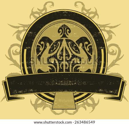 tribal turtle emblem - stock vector