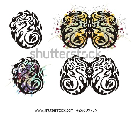 Tribal twirled dragon and dragon butterfly. Grunge colorful dragon splashes - stock vector