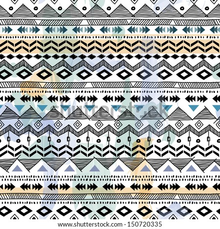 tribal vector seamless background - stock vector