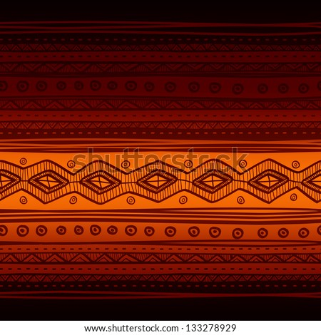 Tribal vector seamless fabric pattern. Hand drawn abstract background. - stock vector