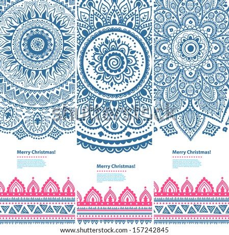 Tribal vintage ethnic banners  - stock vector