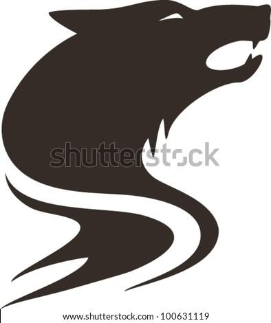 Tribal wild wolf. Tattoo style vector. - stock vector