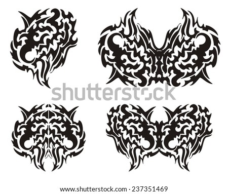 Tribal wings of a butterfly - stock vector