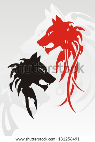 Tribal wolf head tattoo on the gray. Red and black variants - stock vector
