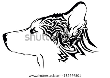 Tribal wolf tattoo - stock vector