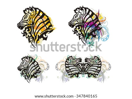 Tribal zebra splashes. Grunge zebra head with floral elements. Four options - stock vector