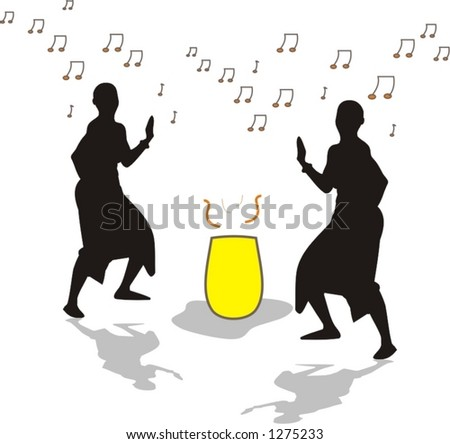 tribe in a traditional ethnic tribal dance - vector illustration - stock vector