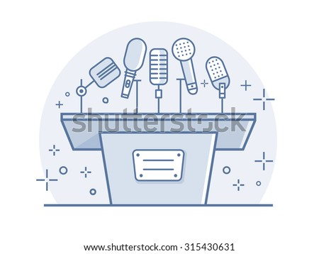 Tribune with microphones. Conference and debate, podium for presentation, tribune for seminar, line vector illustration - stock vector
