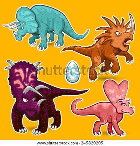 Triceratops, Styracosaurus, Chasmosaurus, Pachyrhinosaurus Herbivorous Rhino Dinosaurs Sticker Collection Set - stock vector