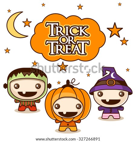 Trick or Treat background with cute kids in Halloween costumes - stock vector