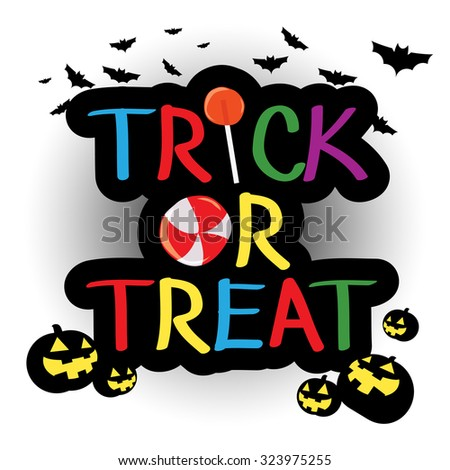 trick or treat candy halloween logo colorful
