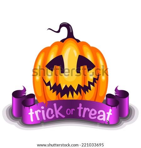 Trick or Treat card with cute cartoon pumpkin character - stock vector