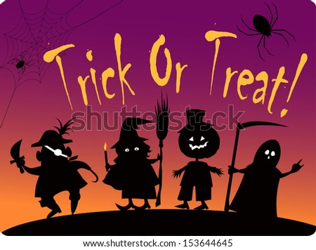 Trick or treat card with silhouettes of four cute Halloween costumed characters: Pirate, Witch, Great Pumpkin and Grim Reaper  - stock vector