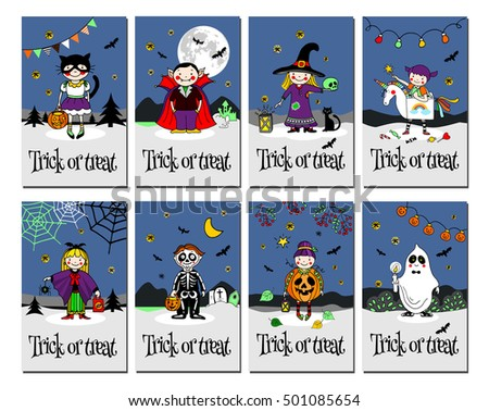 Trick treat cards invitation greeting cardshand stock vector trick or treat cards invitation or greeting cardshand drawn vector illustration m4hsunfo Choice Image