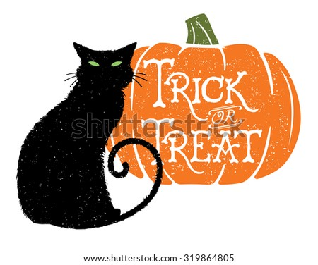 Trick or Treat Cat & Pumpkin. Vector illustration of a black cat with a Halloween greeting carved into a pumpkin;.