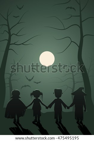 Trick or Treat. Children Halloween. Monsters kids on the forest