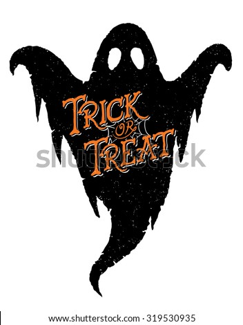 Trick or Treat Ghost. Vector of a hand-drawn Halloween greeting on a Ghost.