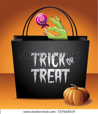 Trick or Treat Halloween bag EPS 10 vector royalty free stock illustration for greeting card, ad, promotion, poster, flier, blog, article, social media, marketing - stock vector