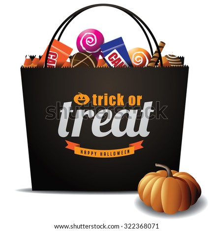 Trick or Treat Halloween bag EPS 10 vector royalty free stock illustration for greeting card, ad, promotion, poster, flier, blog, article, social media, marketing