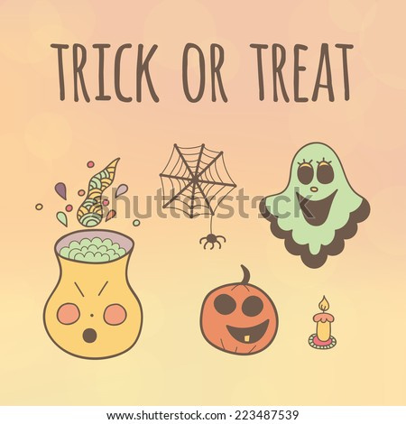 Trick or Treat Halloween Card  - stock vector