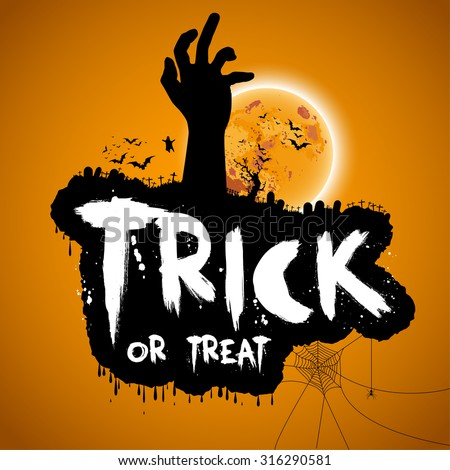 Trick or treat Halloween design with zombie hand, bats, graves, moon, vector illustration - stock vector