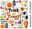 Trick or Treat Halloween Notebook Doodles- Hand Drawn Design Holiday Elements Set on White Lined Sketchbook Paper Background- Vector Illustration - stock vector
