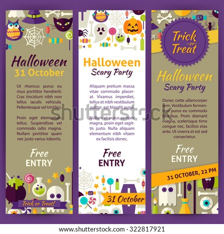 Trick or Treat Halloween Party Invitation Template Flyer Set. Flat Design Vector Illustration of Brand Identity for Halloween Holiday Promotion. Trick or Treat Colorful Pattern for Advertising - stock vector
