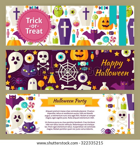 Trick or Treat Halloween Vector Template Banners Set. Flat Design Vector Illustration of Brand Identity for Halloween Party Promotion. Colorful Pattern for Advertising - stock vector