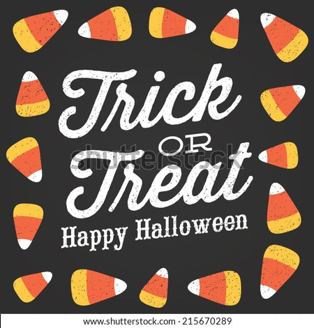 Trick or Treat Happy Halloween Candy Corn Vector Design - stock vector
