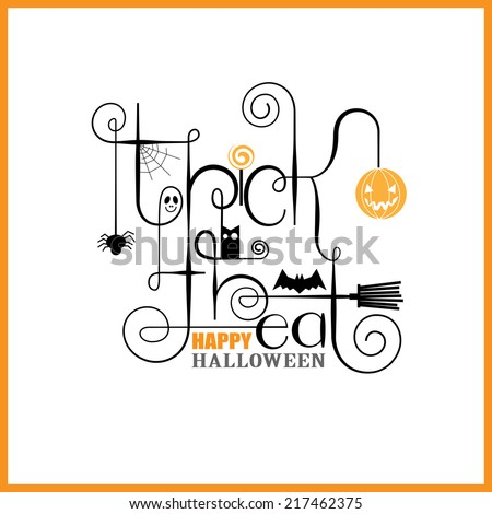 Trick or Treat Happy Halloween Greeting Card - stock vector