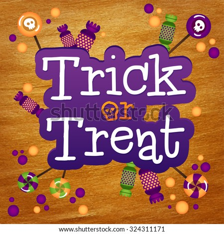 Trick or Treat Happy Halloween Greeting Card Gold Foil Background. Halloween trick or treat candies. - stock vector