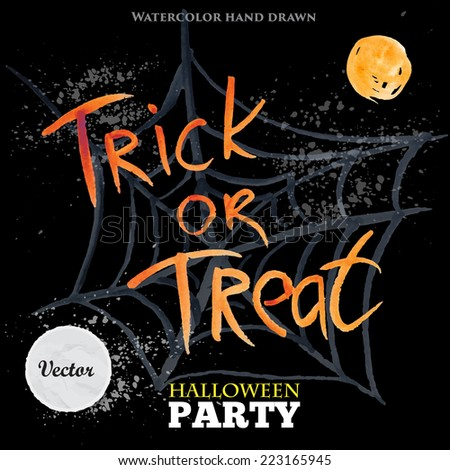 Trick or treat. Happy Halloween party design on black and yellow background. Watercolor witch hat on hand drawn watercolor web. Vector illustration - stock vector