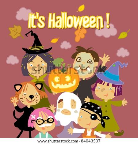 trick or treat kids vector