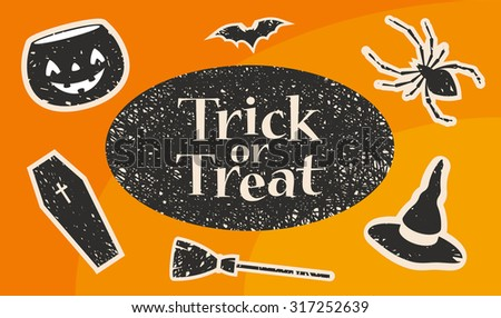Trick or Treat Title. Stylized Silhouettes: Pumpkin, Bat, Spider, Witch Hat, Broom and Coffin. Vector Illustration - stock vector