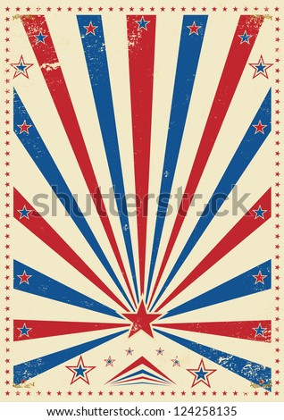 tricolor vintage. A vintage poster with sunbeams for your advertising - stock vector