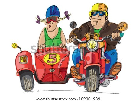 tricycle motorbike - cartoon - stock vector