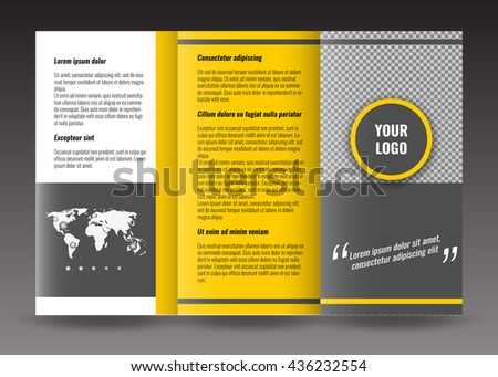 trifold brochure template design corporate booklet stock vector
