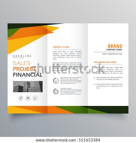 trifold brochure template presentation abstract geometric stock, Presentation templates