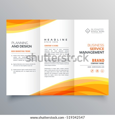Trifold Brochure Template Orange Wave Shapes Stock Vector