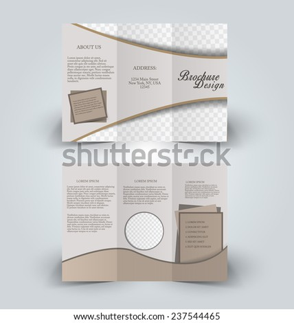 Trifold business brochure leaflet template light brown background. Corporate identity design. Vector illustration. - stock vector