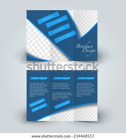 Trifold Business Brochure Leaflet Template White Stock Vector - Tri fold business card template