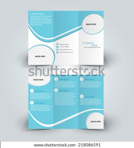 Trifold business brochure leaflet template white and blue elements. Vector illustration. - stock vector