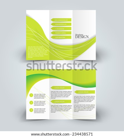 Trifold business brochure leaflet template white and green background. Corporate identity design. Vector illustration. - stock vector