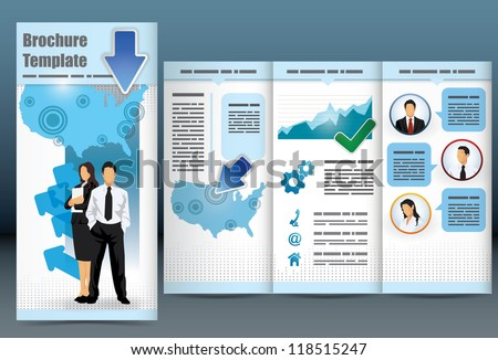 Trifold Business Brochure Template Location Map Stock Vector - Information brochure template