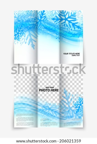 Trifold snowflake christmas winter blue brochure design for new year flyer - stock vector