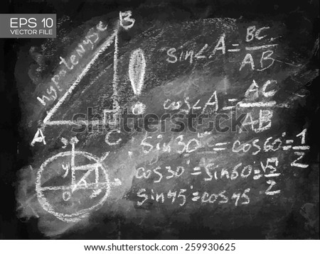 Trigonometry math lecture, right triangle, hypotenuse, cathetus. Chalkboard isolated texture background with mathematical formula numbers figure. Hand drawn vector illustration. Web, mobile interface. - stock vector