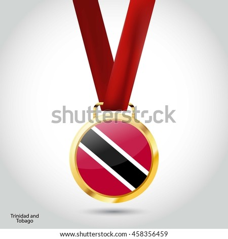 Trinidad and tobago Flag in gold Medal. Vector Illustration