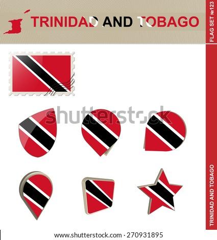 Trinidad and Tobago Flag Set, Flag Set #123. Vector. - stock vector