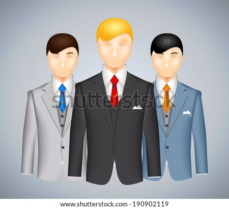 Trio of businessmen in suits each wearing a different colored outfit with a blond haired man in the foreground  vector illustration